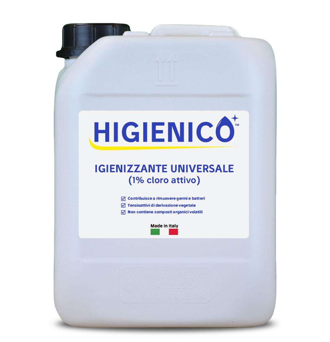 Higienico detergente igienizzante universale all'1% di cloro attivo